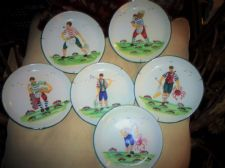 SET 6 VINTAGE HANDPAINTED WALL DISPLAY PLATES ITALY BOLD DESIGN FISHERMEN 7.75""